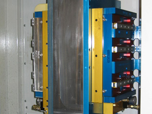 Hydraulic Clamping System holding five parts on HMC